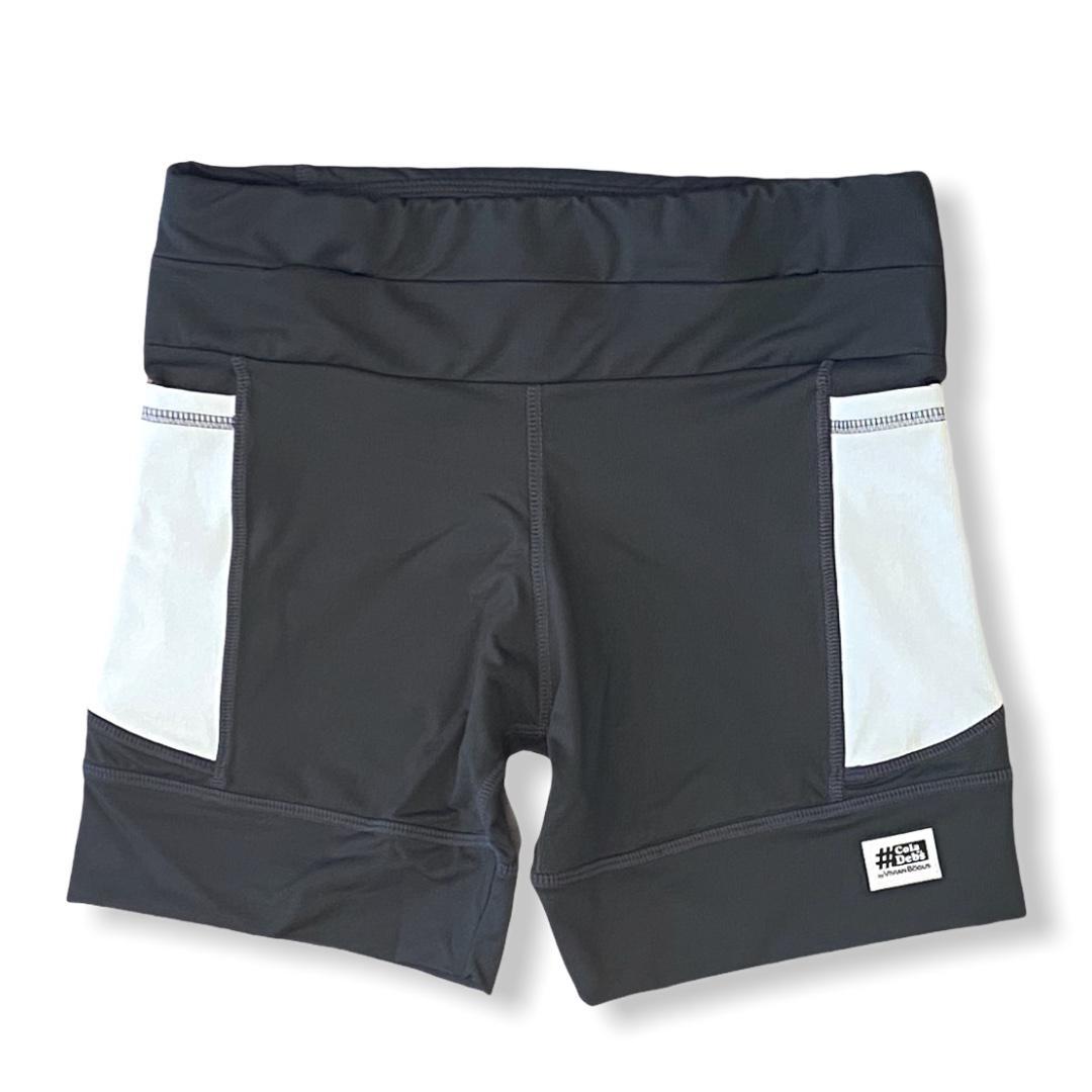 Shorts de compressão 1500 bolsos em compress chumbo bolsos brancos  - Vivian Bógus