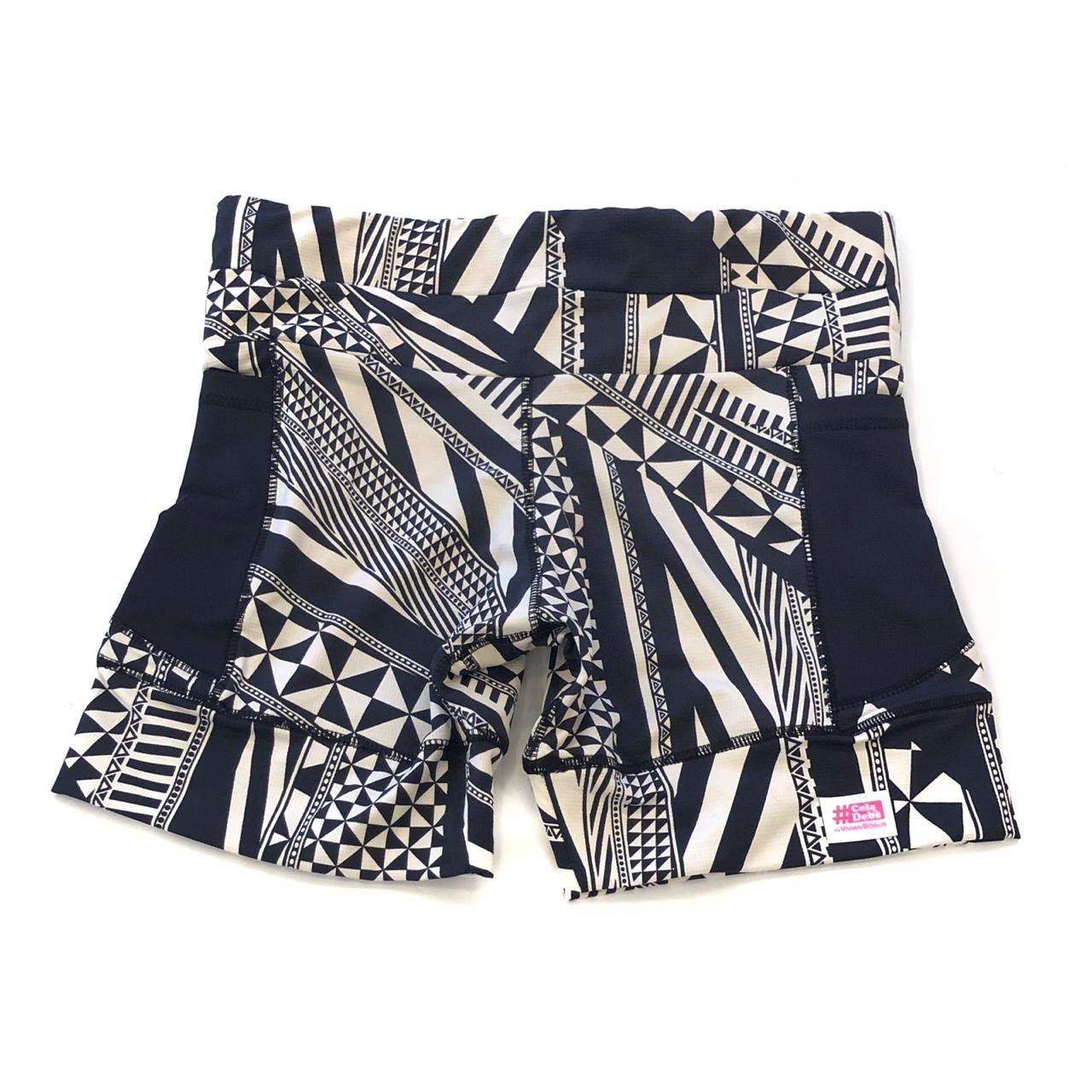 Shorts de compressão 1500 bolsos em compress estampado com bolsos pretos  - Vivian Bógus