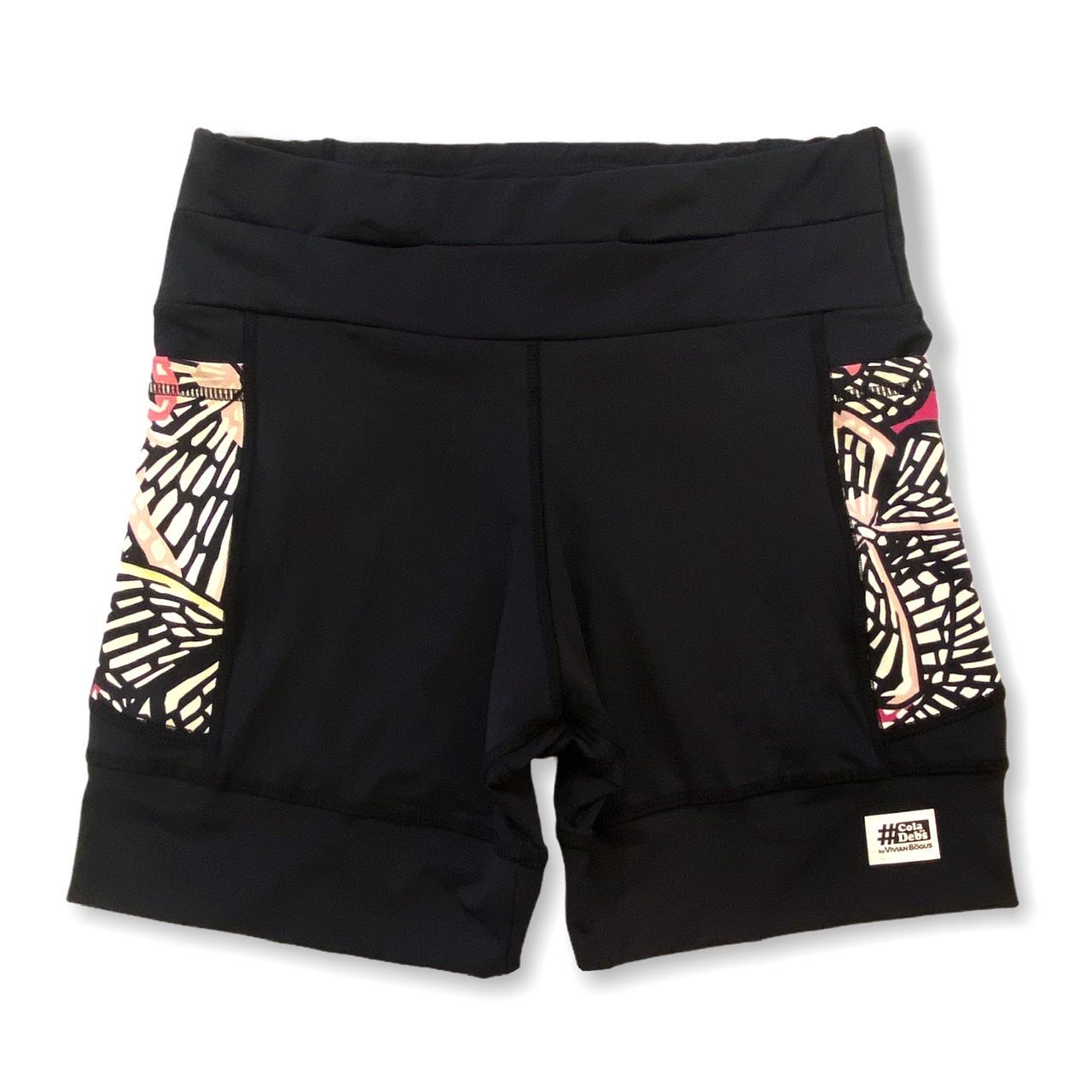 Shorts de compressão 1500 bolsos em sportiva preto com bolsos laterais estampa Borboletas  - Vivian Bógus