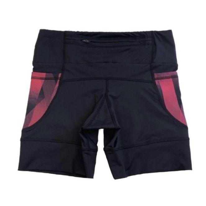 Shorts de compressão 1500 bolsos em sportiva preto com bolsos laterais estampa Cherry   - Vivian Bógus