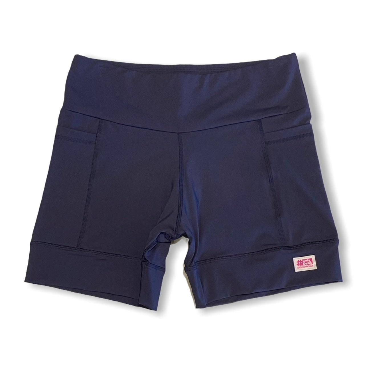 Shorts de compressão 2 bolsos laterais Square em sportiva azul marinho  - Vivian Bógus