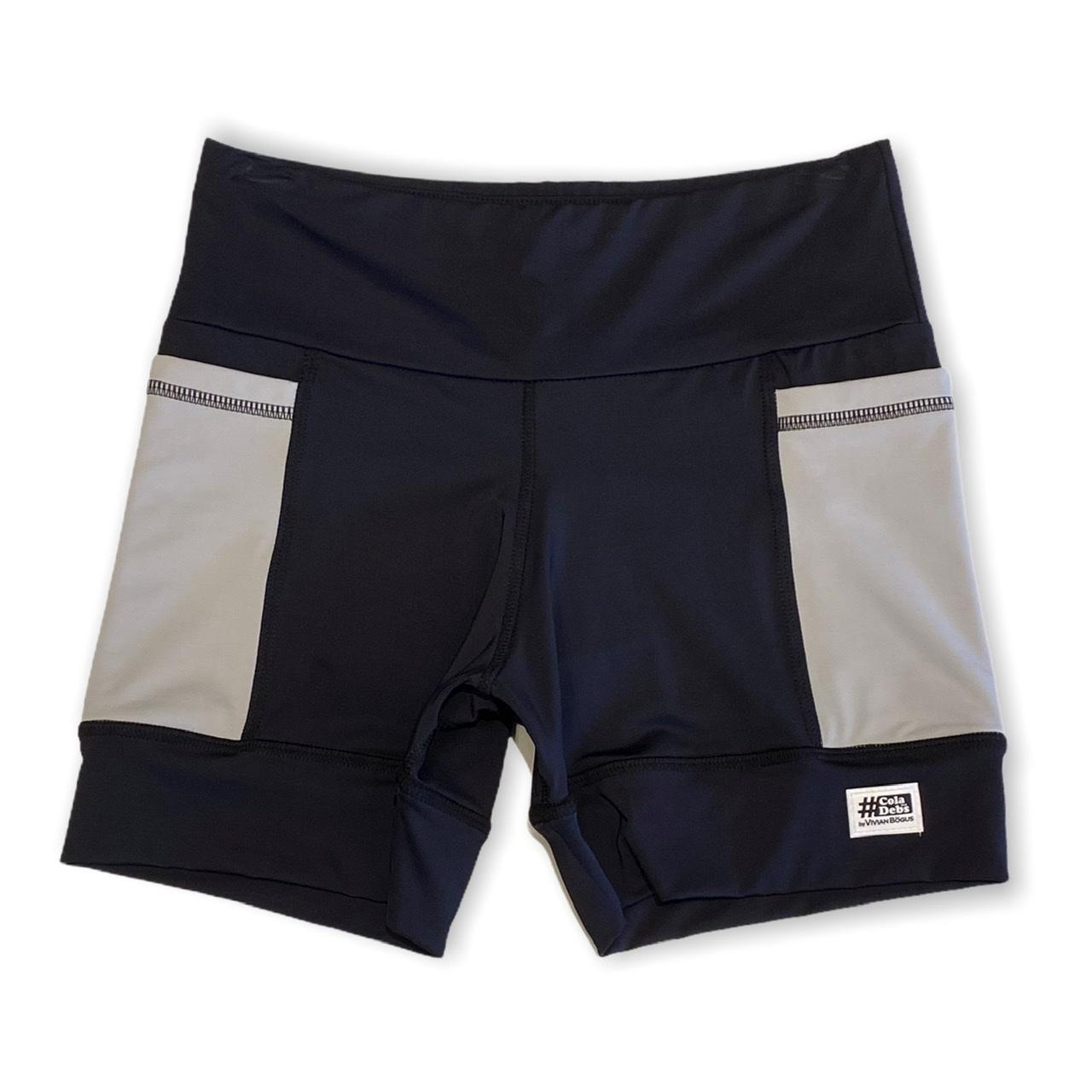 Shorts de compressão 2 bolsos laterais Square em sportiva preto bolso cinza claro