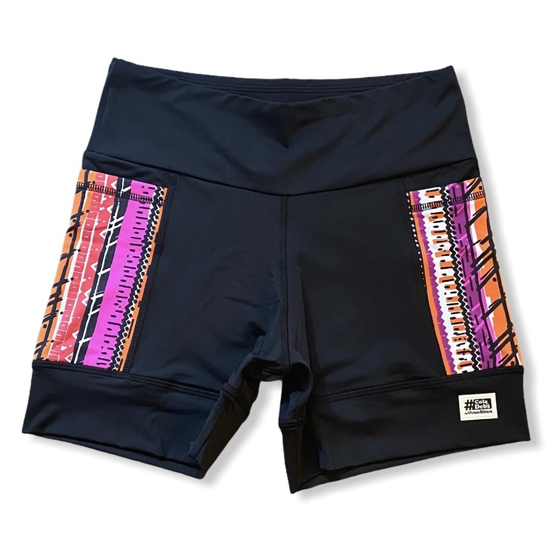 Shorts de compressão 2 bolsos laterais Square em sportiva preto bolso Tribal  - Vivian Bógus