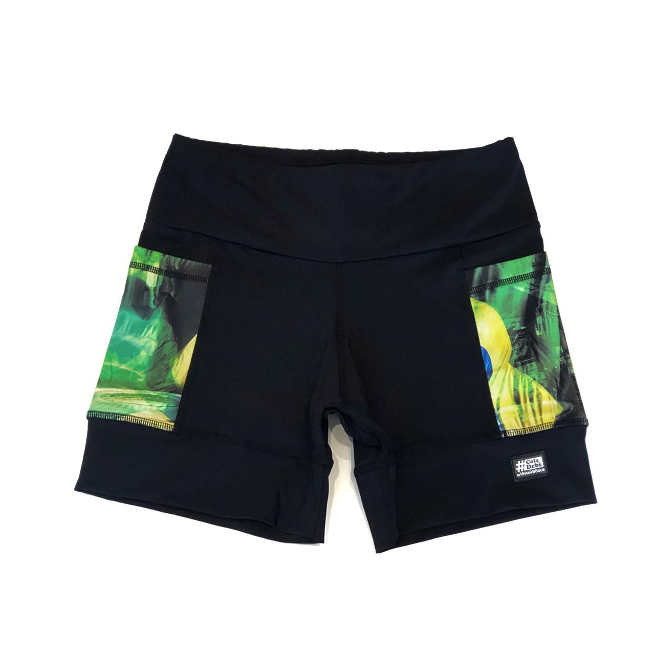 Shorts de compressão 2 bolsos Square em sportiva preto bolso Brasil  - Vivian Bógus