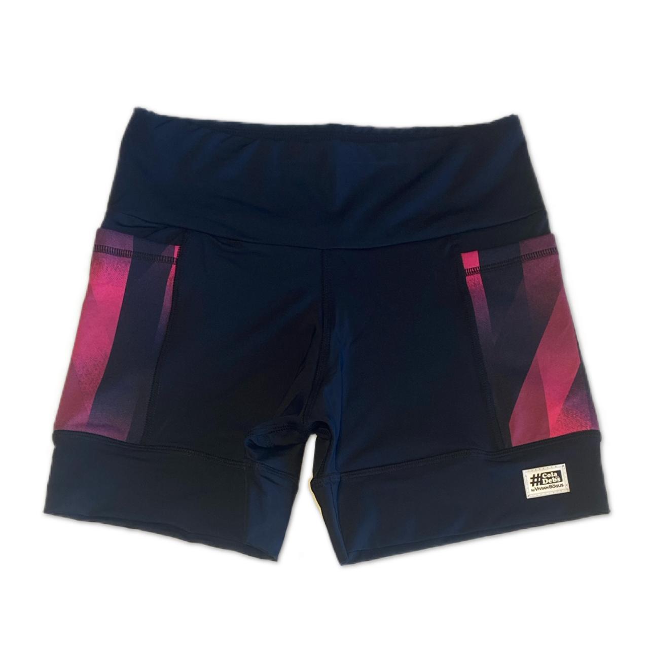 Shorts de compressão 2 bolsos Square em Sportiva preto bolso Cherry  - Vivian Bógus