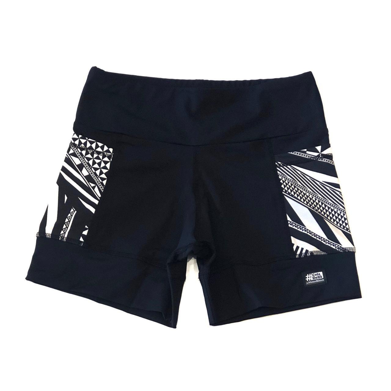 Shorts de compressão 2 bolsos Square em sportiva preto bolso estampado   - Vivian Bógus