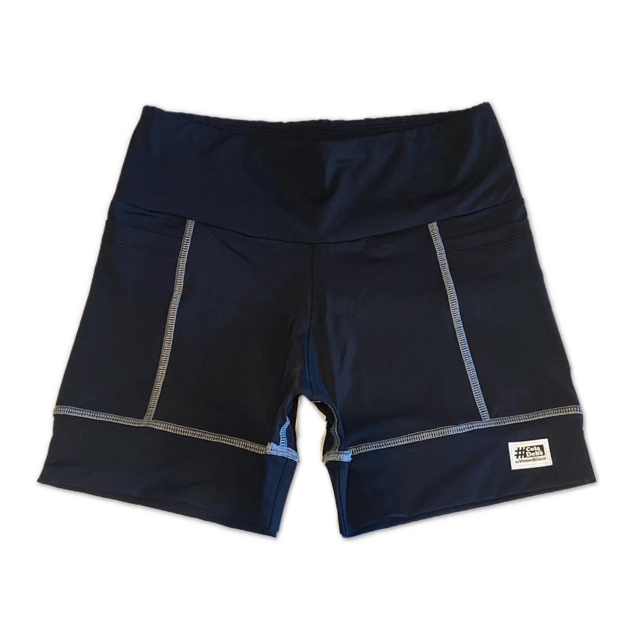 Shorts de compressão 2 bolsos Square em sportiva preto costura cinza  - Vivian Bógus