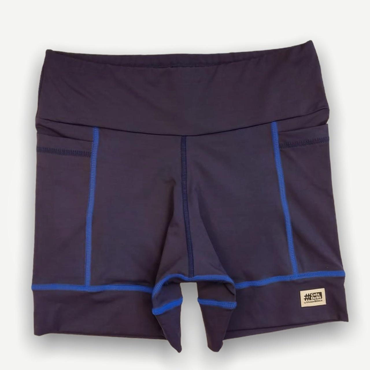 Shorts de compressão Square em sportiva azul marinho com costuras royal
