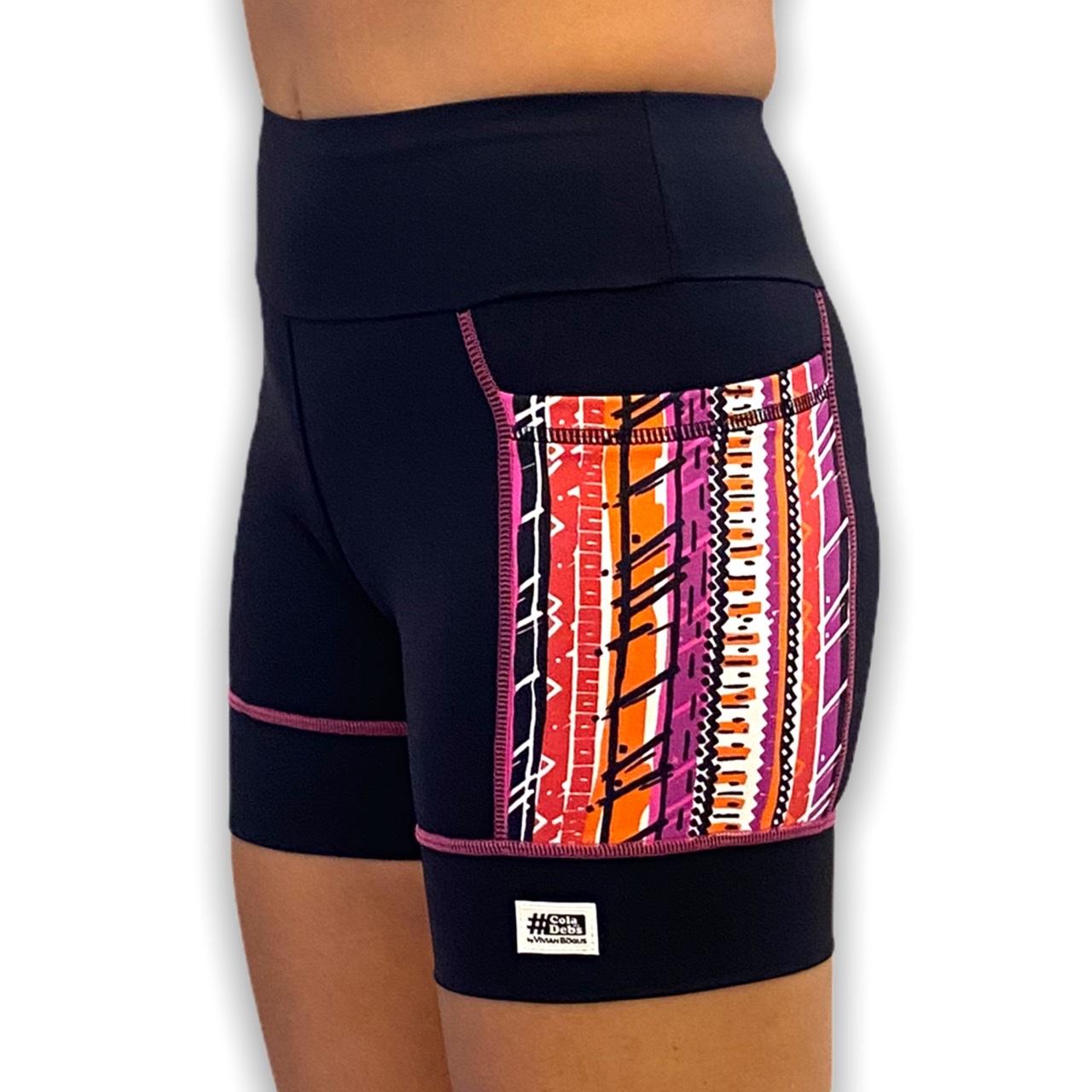 Shorts de compressão Square em sportiva preto com bolsos laterais estampa tribal