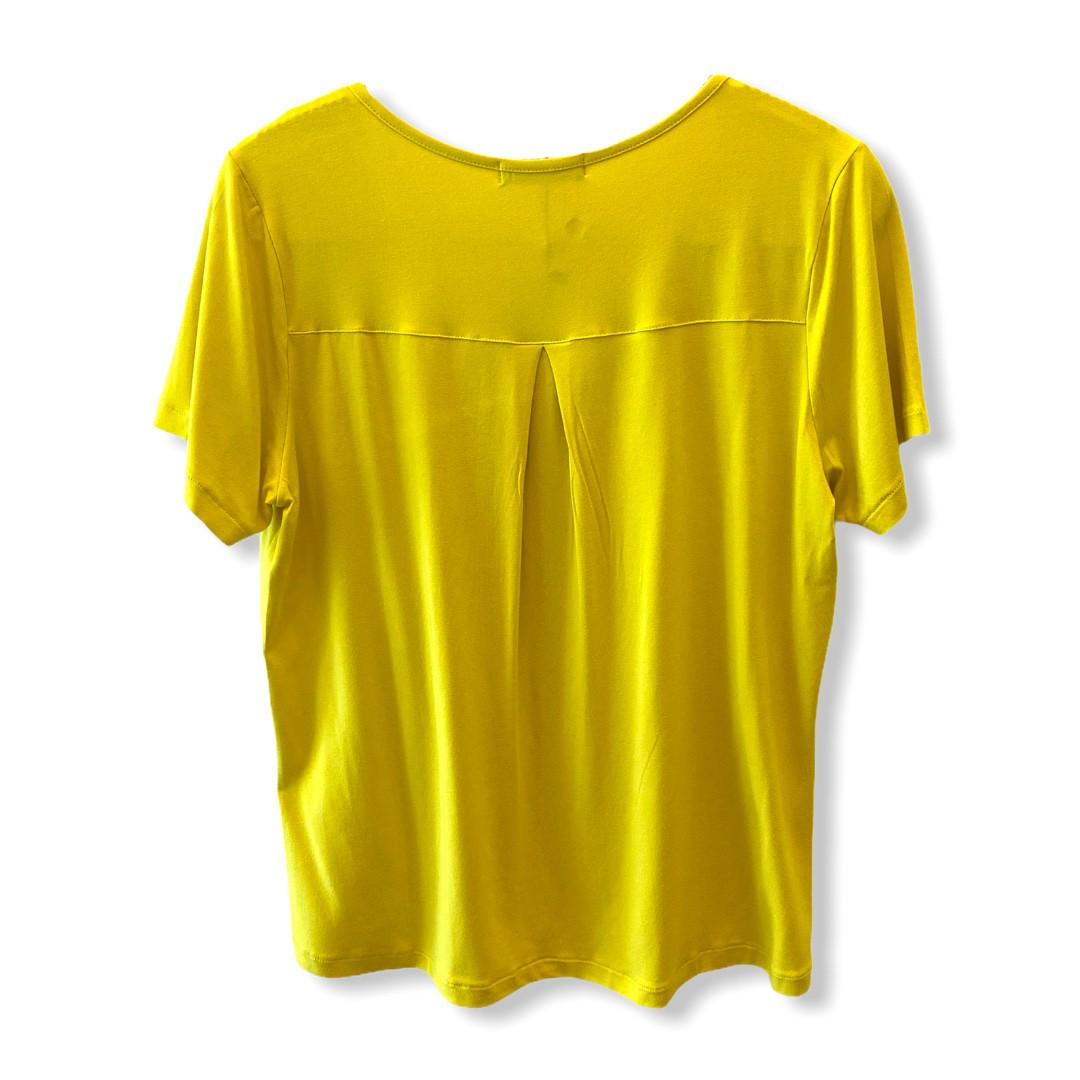 T-shirt basic recorte amarela   - Vivian Bógus