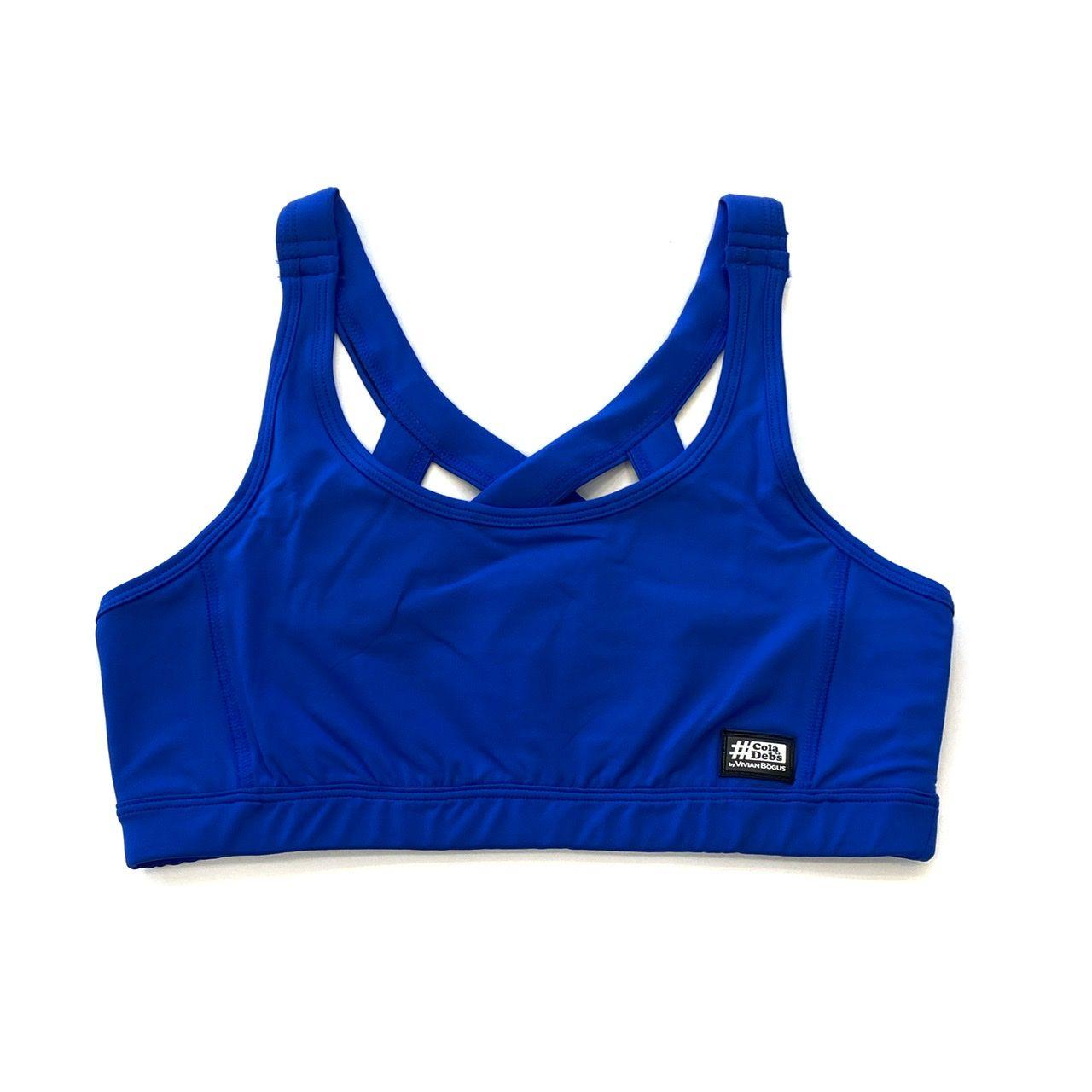Top com forro de compressão decote u costas trançadas Azul Royal  - Vivian Bógus