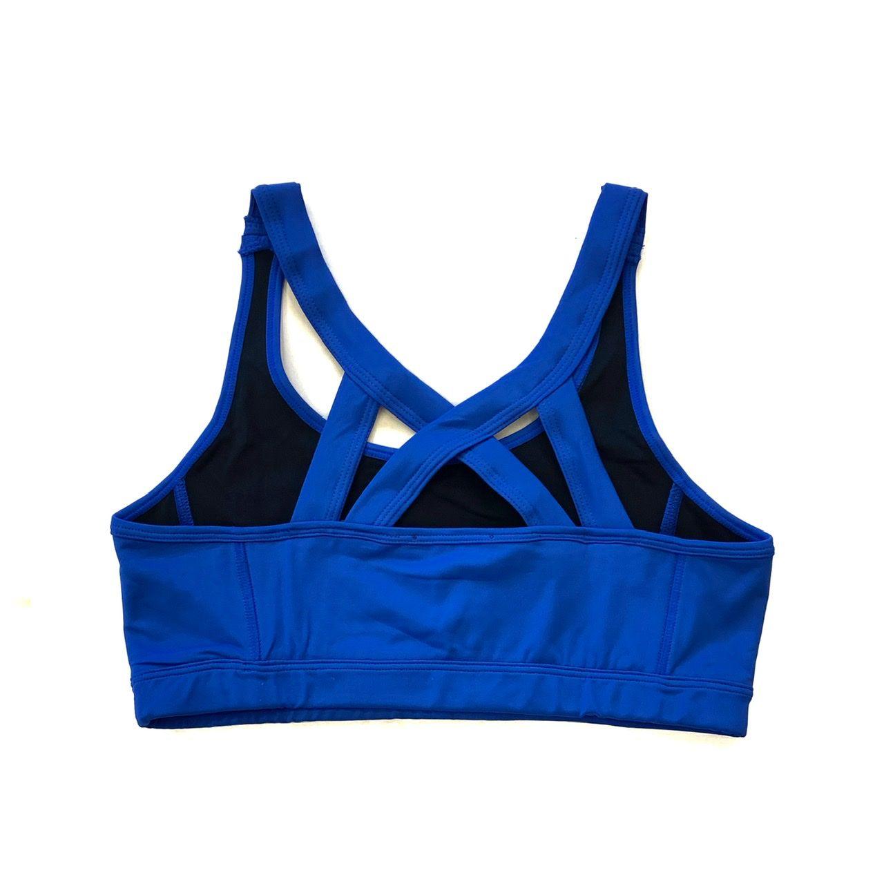 Top com forro de compressão decote u costas trançadas Azul Royal