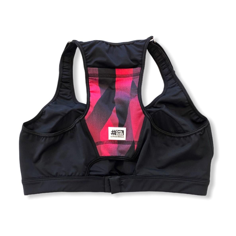 Top de compressão com bojo, ajuste alça e costas em sportiva preto com bolso estampa cherry