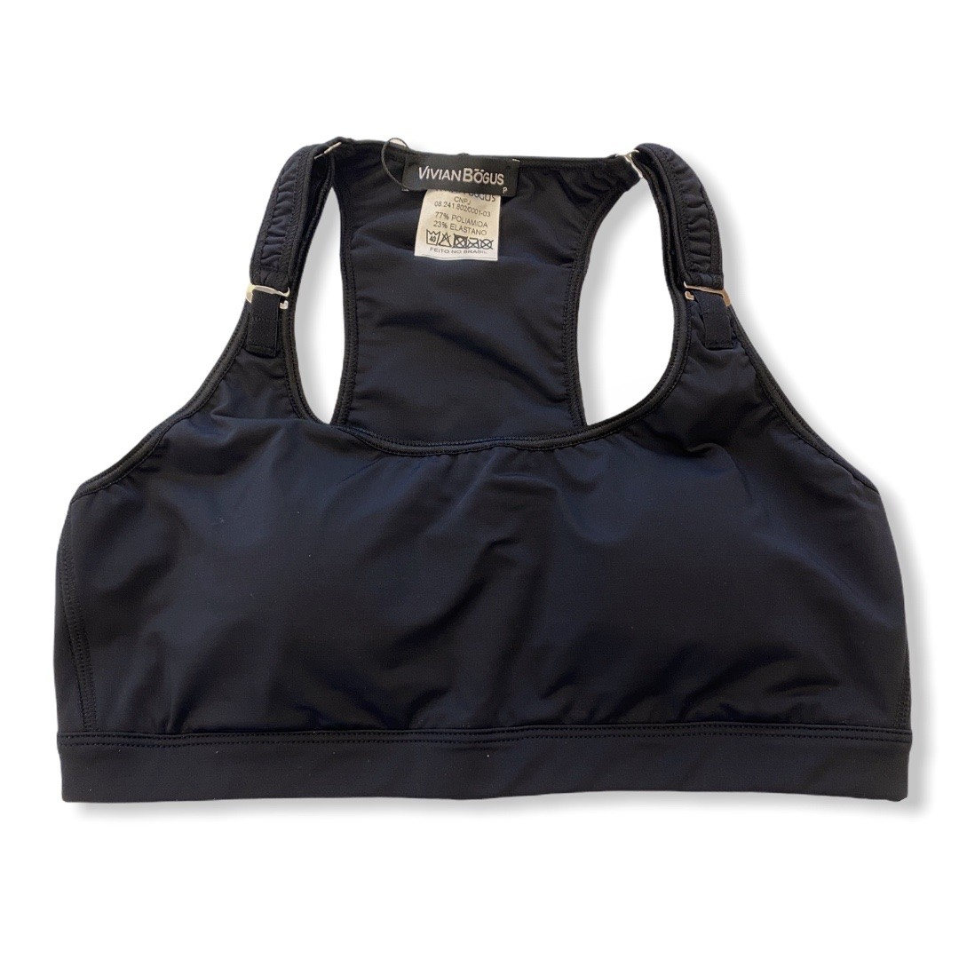Top de compressão com bojo, ajuste alça e costas em sportiva preto com bolso estampa tribal  - Vivian Bógus