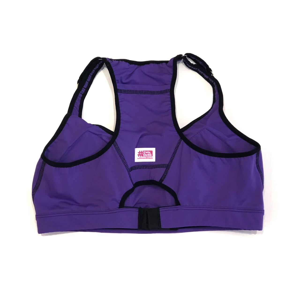 Top de compressão com bolso e bojo em sportiva ajuste alça e costas roxo  - Vivian Bógus