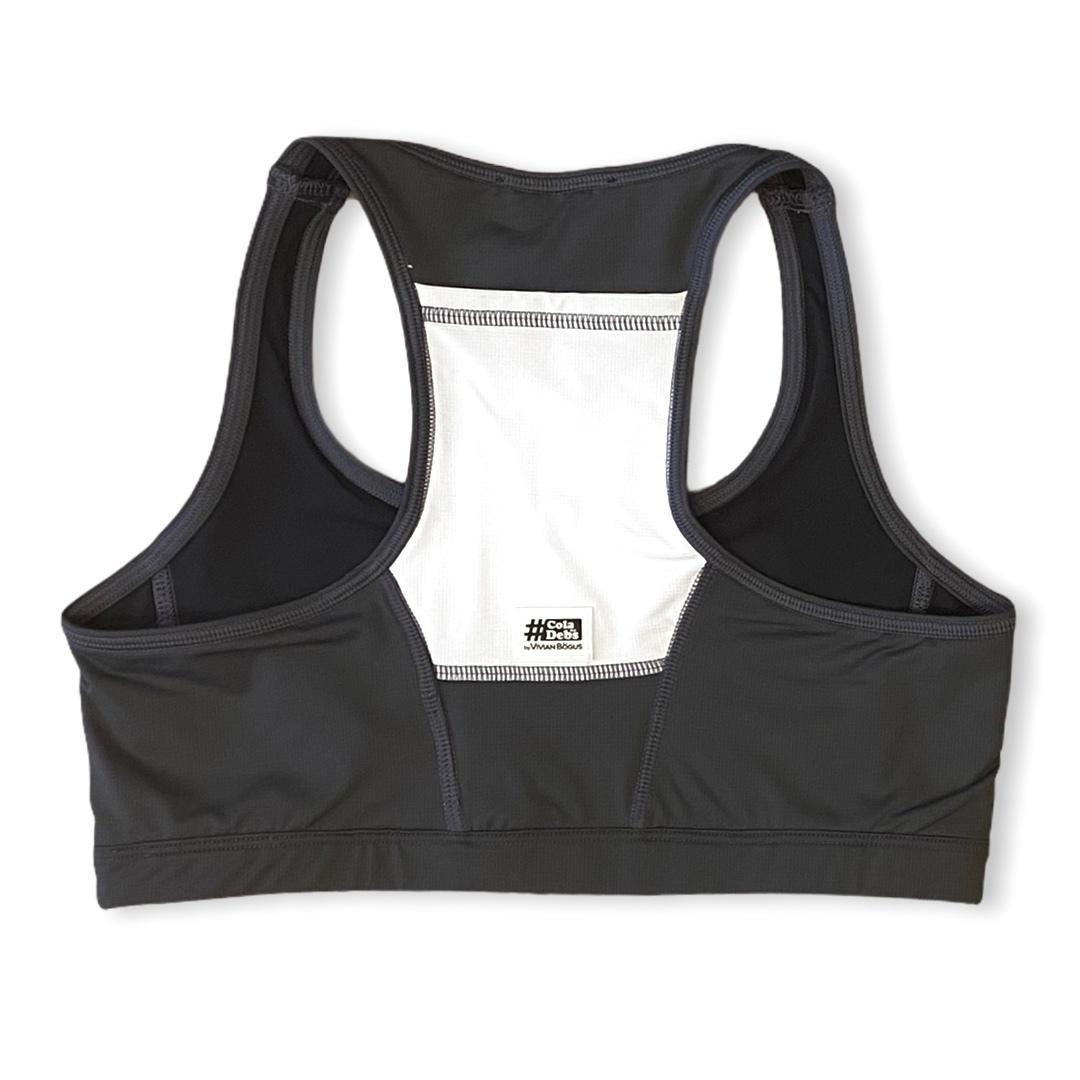 Top de compressão com bolso nas costas em compress chumbo e bolso branco  - Vivian Bógus