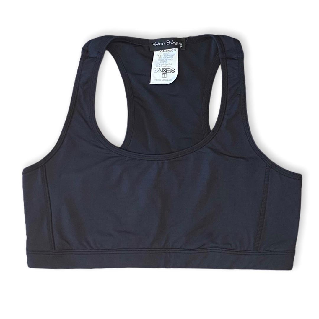 Top de compressão com bolso nas costas em compress preto  - Vivian Bógus