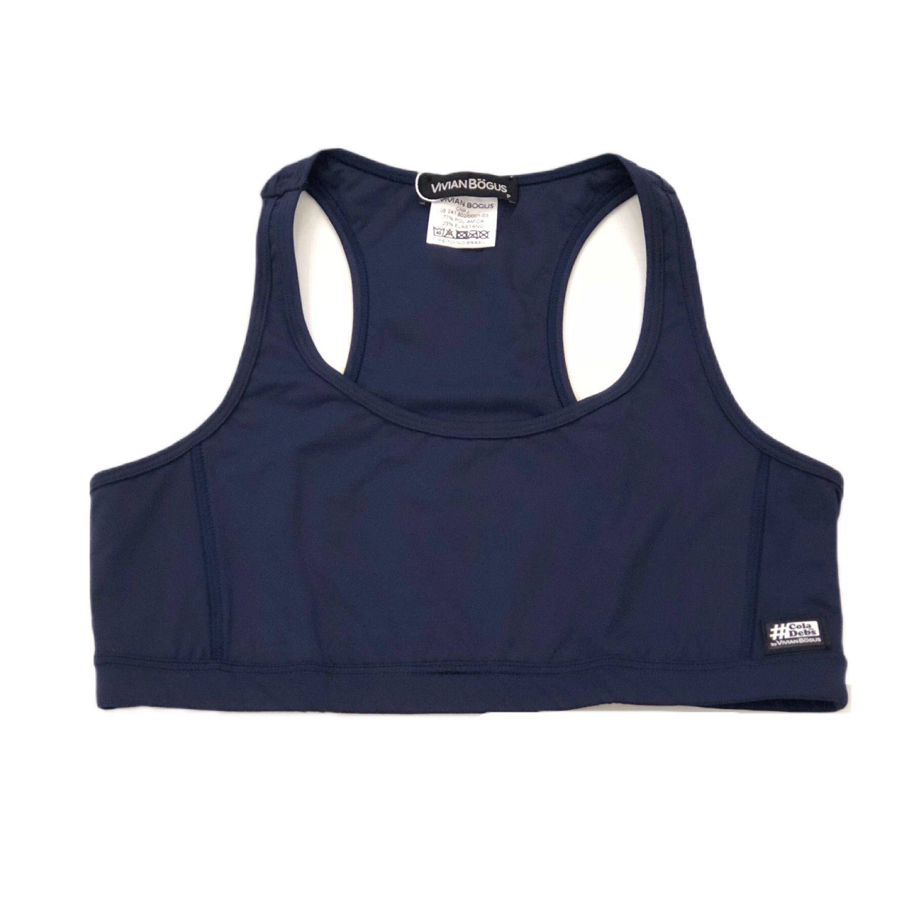 Top de compressão decote u costas nadador em sportiva azul marinho  - Vivian Bógus