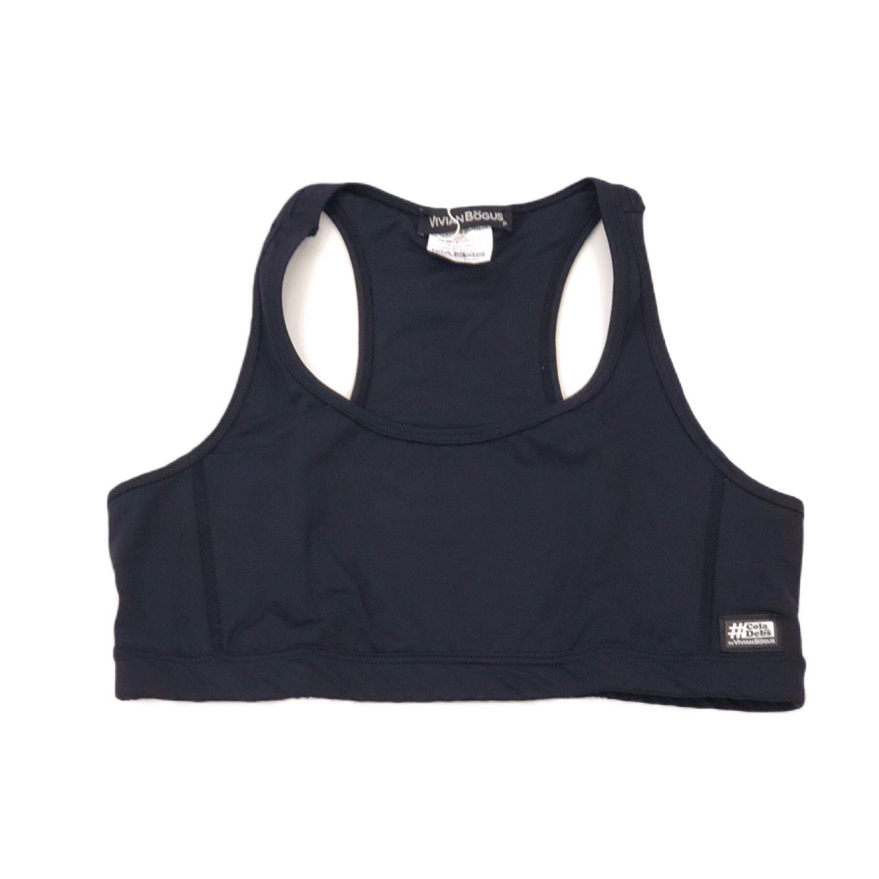 Top de compressão decote u costas nadador em sportiva preto  - Vivian Bógus