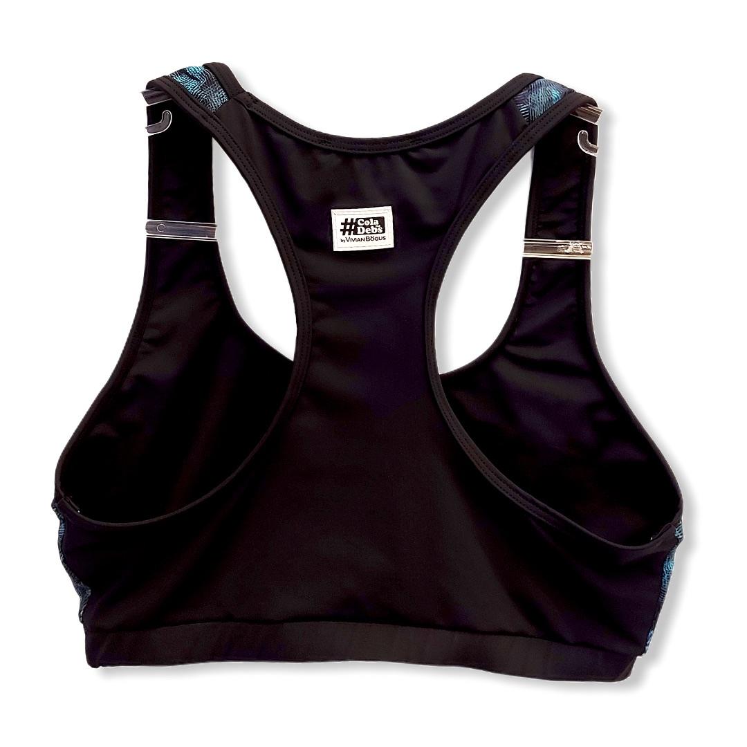 Top de compressão decote u costas nadador estampa folhagem e preto