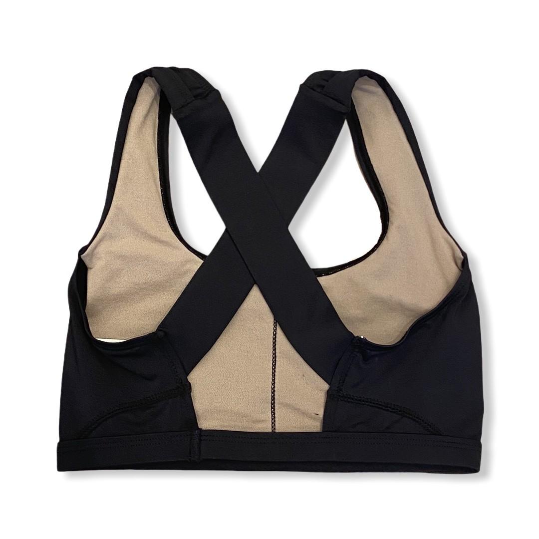 Top de compressão em X com bolso na frente em sportiva preto  - Vivian Bógus