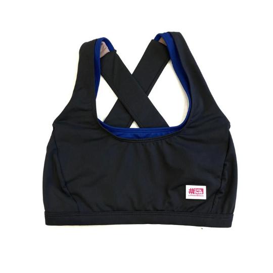 Top de compressão em X com bolso na frente preto e royal em compress  - Vivian Bógus