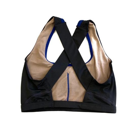 Top de compressão em X com bolso na frente preto e royal  - Vivian Bógus