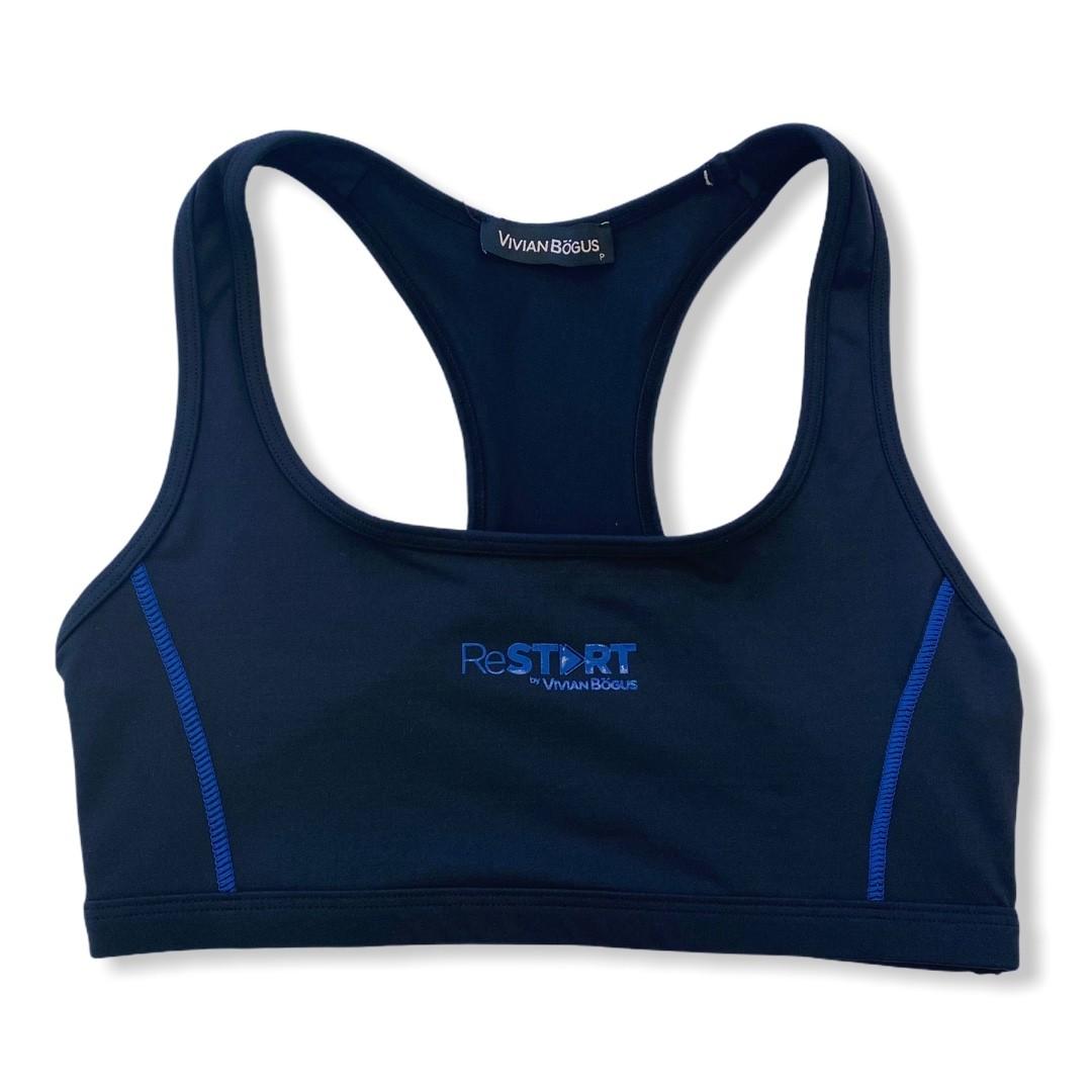 Top de compressão ReStart em bodytex preto e costura azul royal  - Vivian Bógus