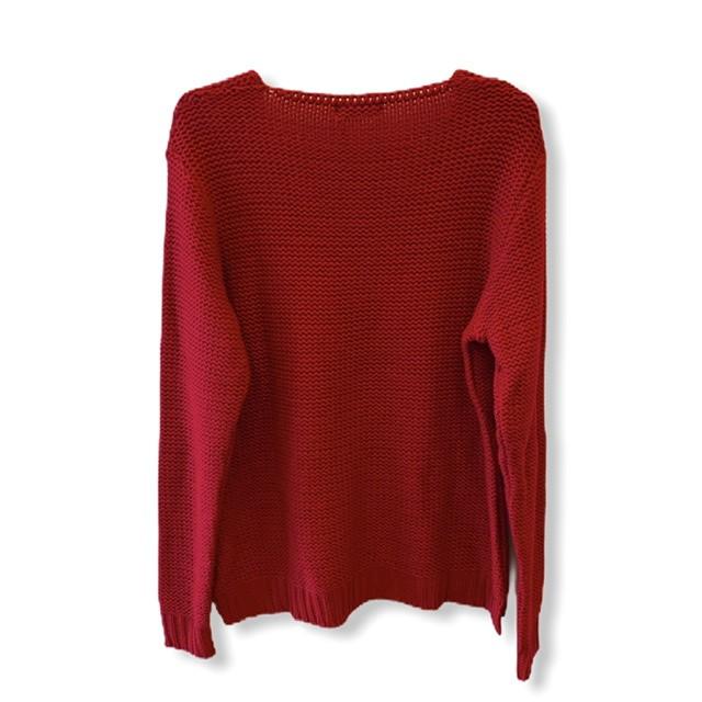 Tricô decote V bolsinho Vermelha   - Vivian Bógus