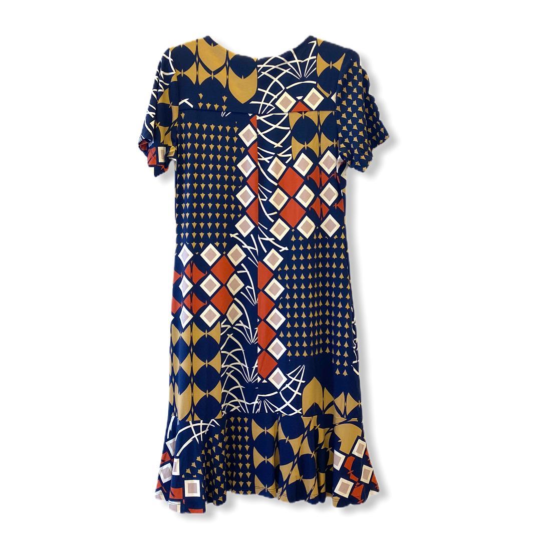 Vestido azul estampado  - Vivian Bógus