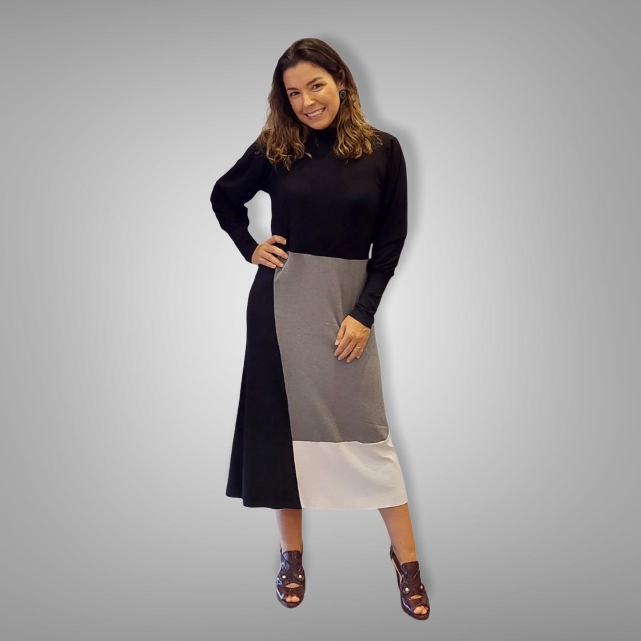 Vestido Deborah canelado tricolor  - Vivian Bógus