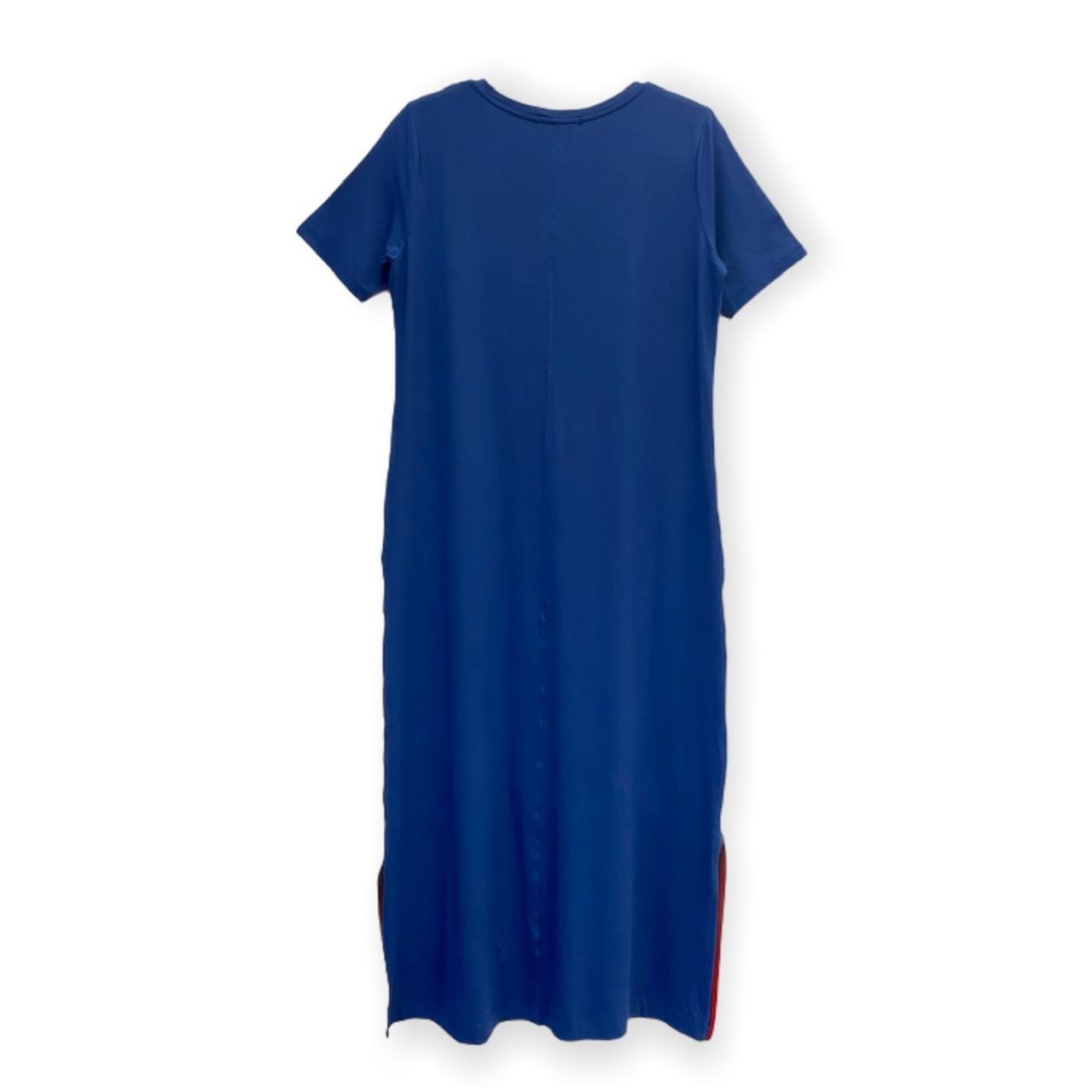 Vestido decote V azul royal