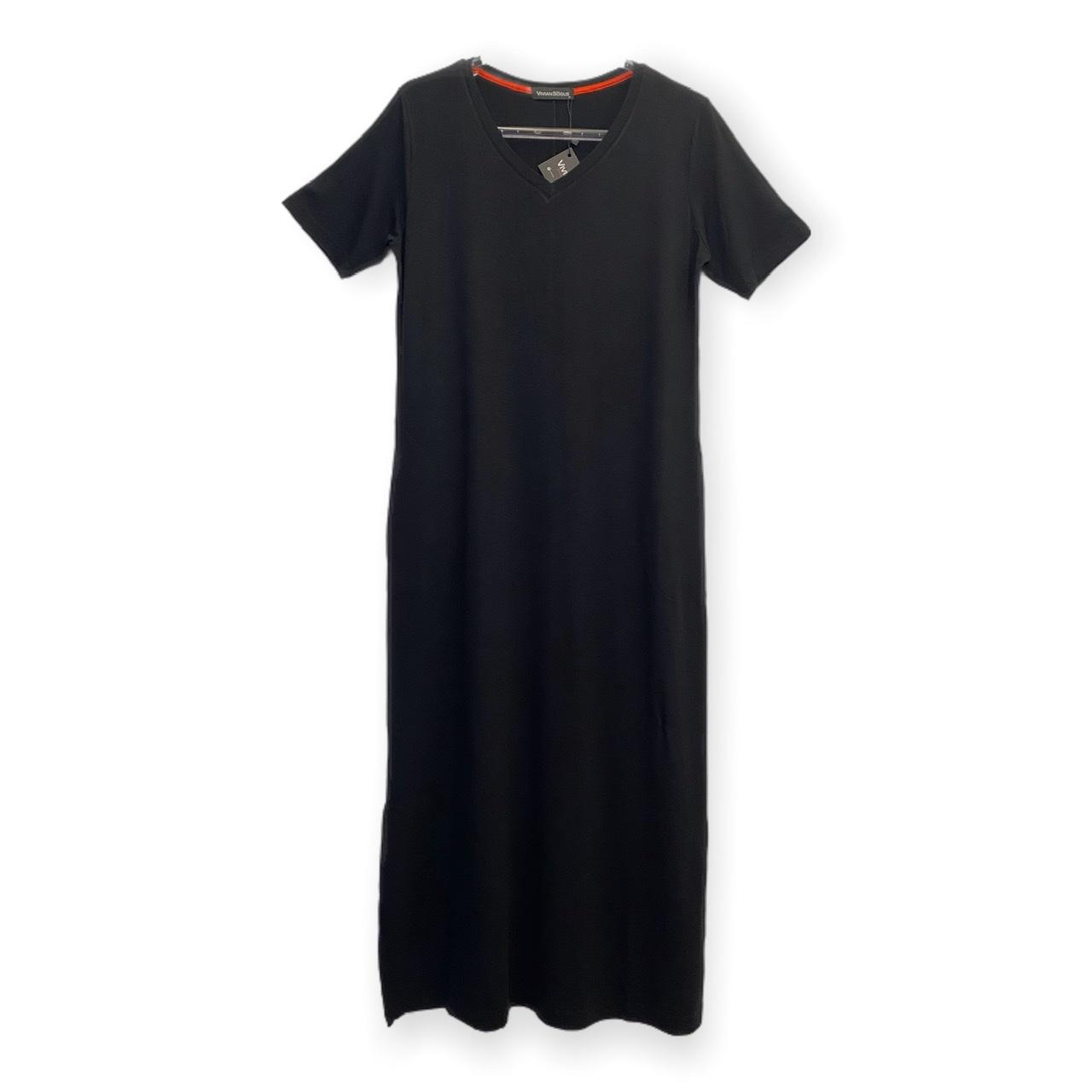 Vestido decote V preto