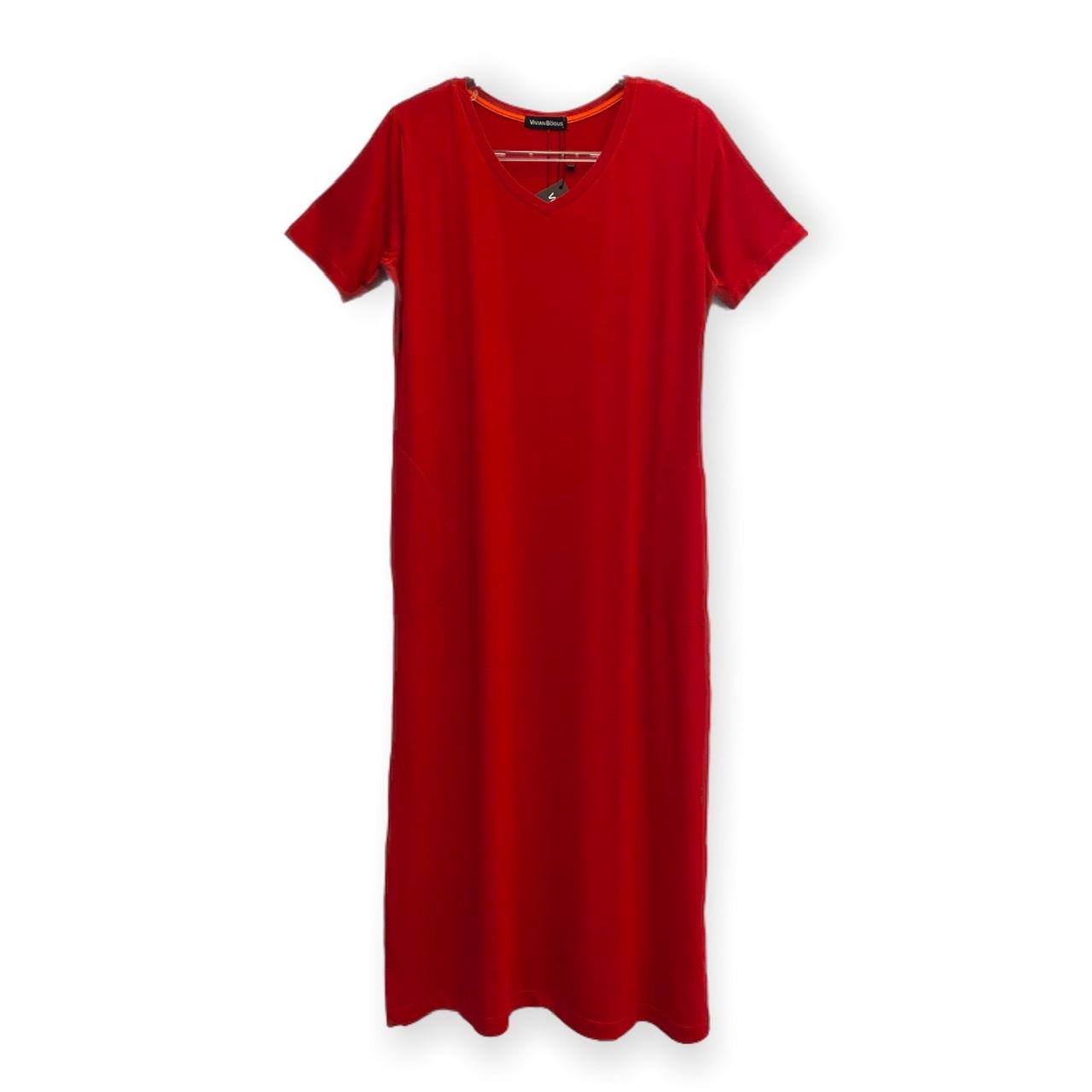 Vestido decote V vermelho