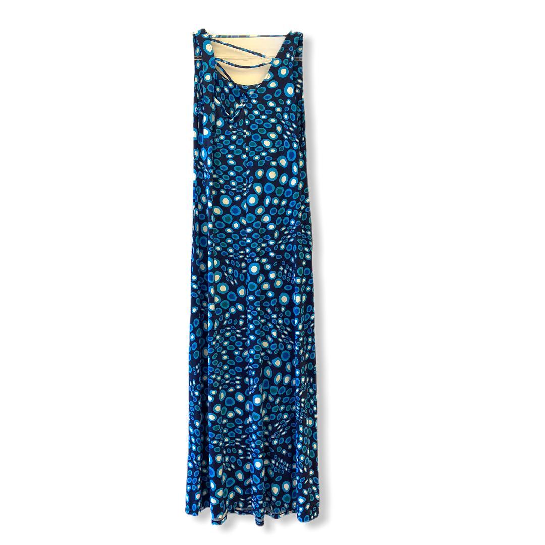 Vestido em malha fria azul estampado  - Vivian Bógus