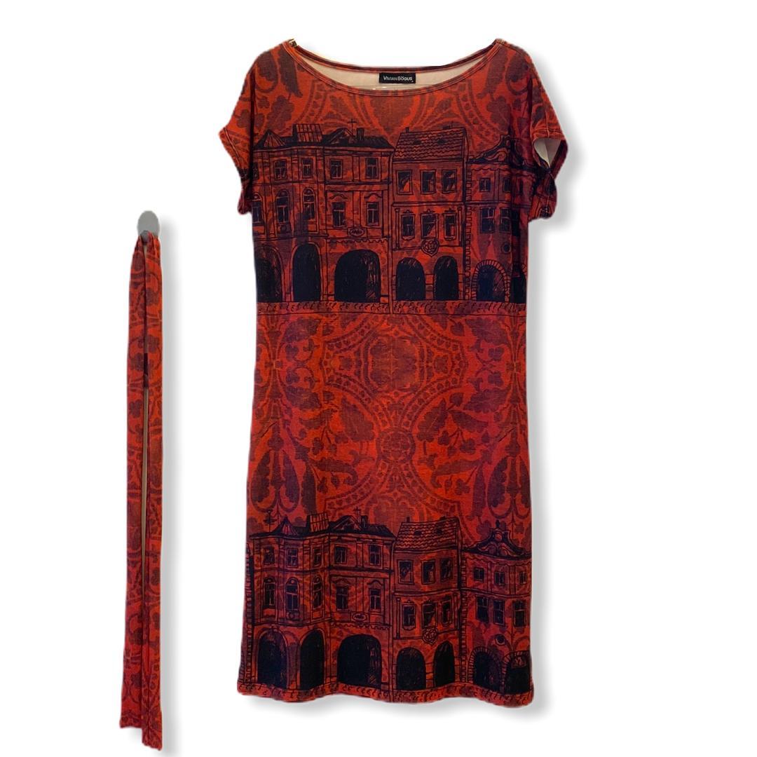 Vestido estampado vermelho com faixa  - Vivian Bógus