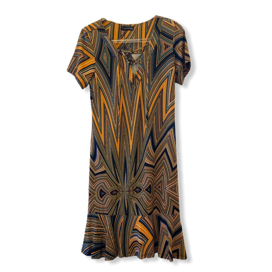Vestido laranja estampado  - Vivian Bógus