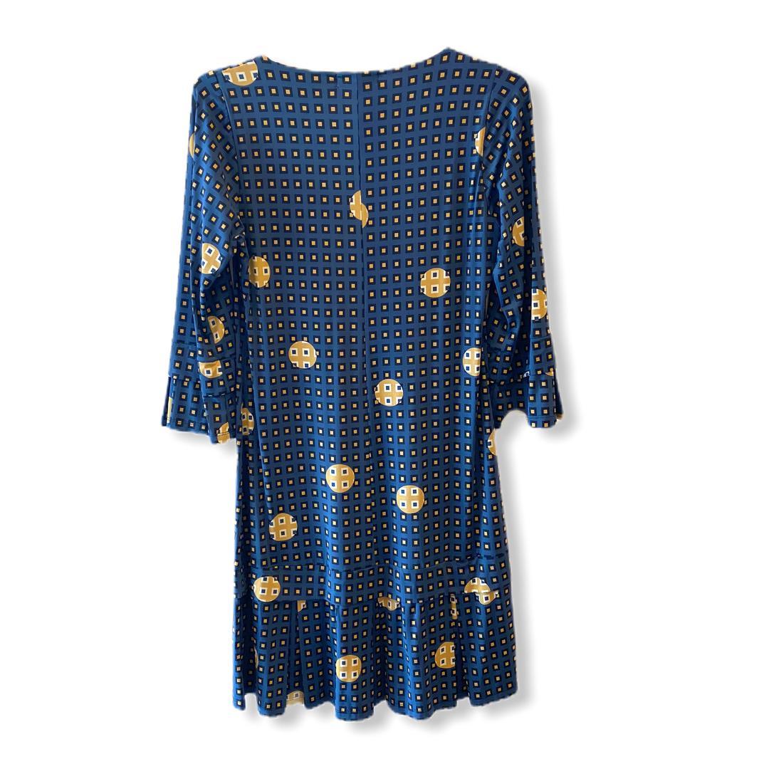 Vestido malha fria azul estampado  - Vivian Bógus