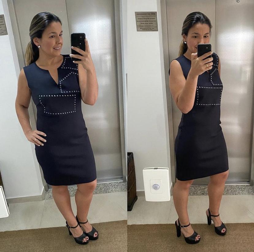 Vestido neoprene preto com taxas  - Vivian Bógus