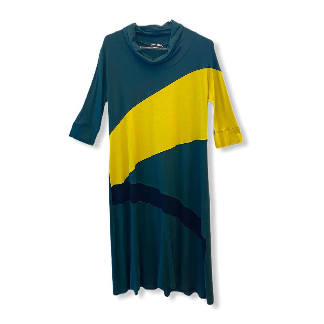 Vestido Recortes Colorido Verde  - Vivian Bógus