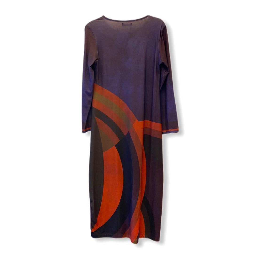 Vestido roxo e marrom geométrico  - Vivian Bógus