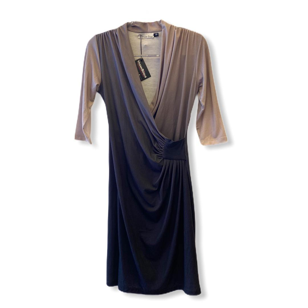 Vestido transpassado drapeado degradê marrom  - Vivian Bógus