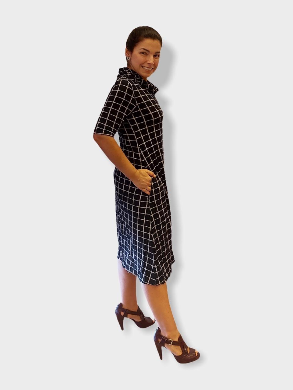 Vestido Xadrez com gola  - Vivian Bógus