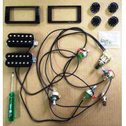 SOLDERLESS - Kit comp. Solderless p/ Les Paul c/ Jogo Capts Distortion+Custom 59