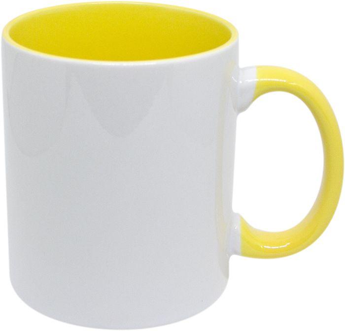 Caneca Interior e Alça de Porcelana - Amarelo - 325ml