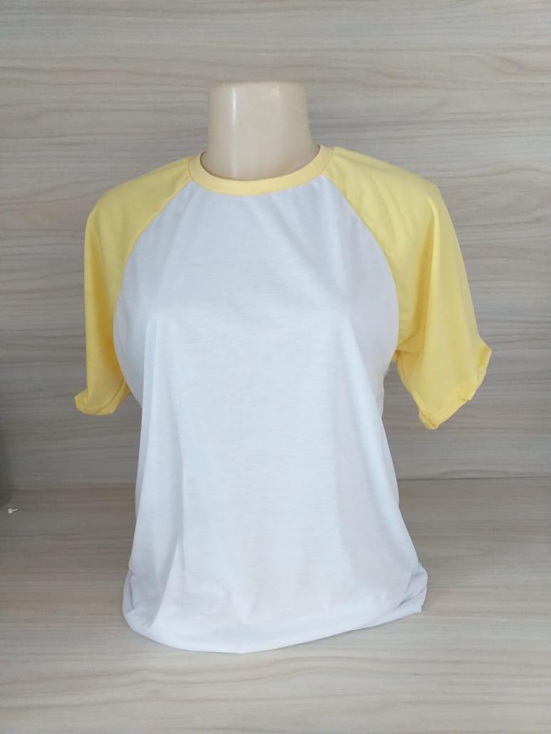 Camisa Raglan - Gola Careca - Amarela / Branca - GG