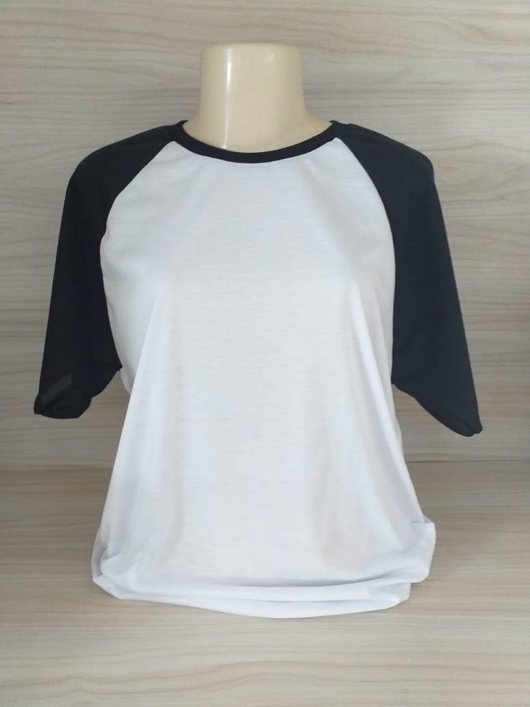 Camisa Raglan - Gola Careca - Preta / Branca - GG