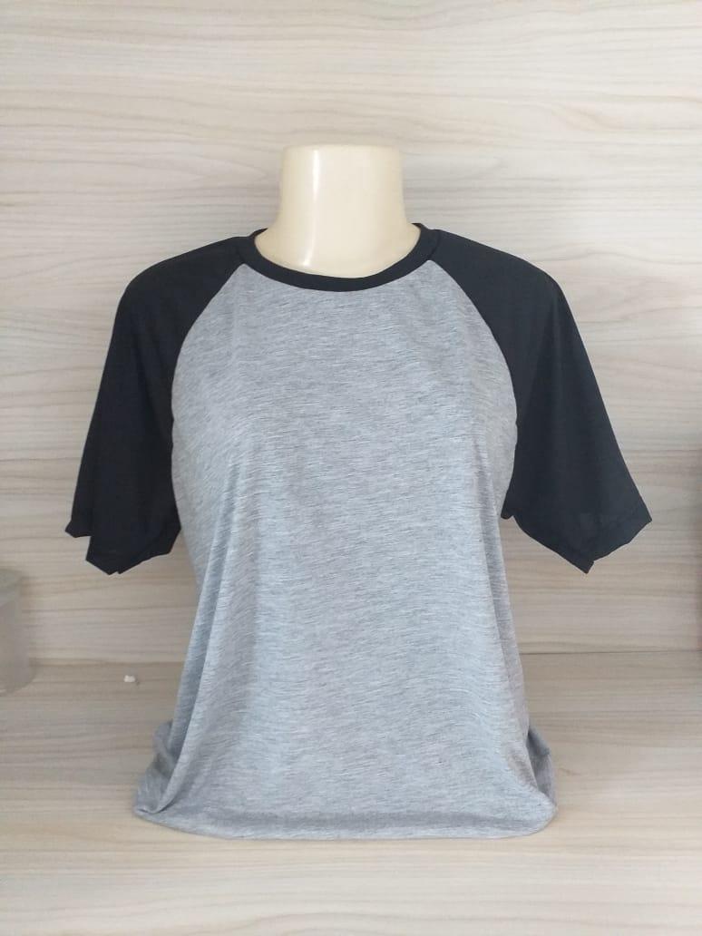 Camisa Raglan - Gola Careca - Preta / Mescla - G