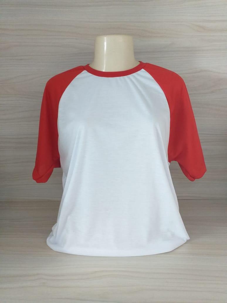 Camisa Raglan - Gola Careca - Vermelho / Branca - XG