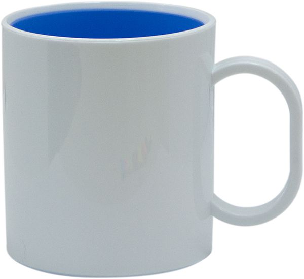 Caneca de Polimero - Branca / Interior Azul Bebe